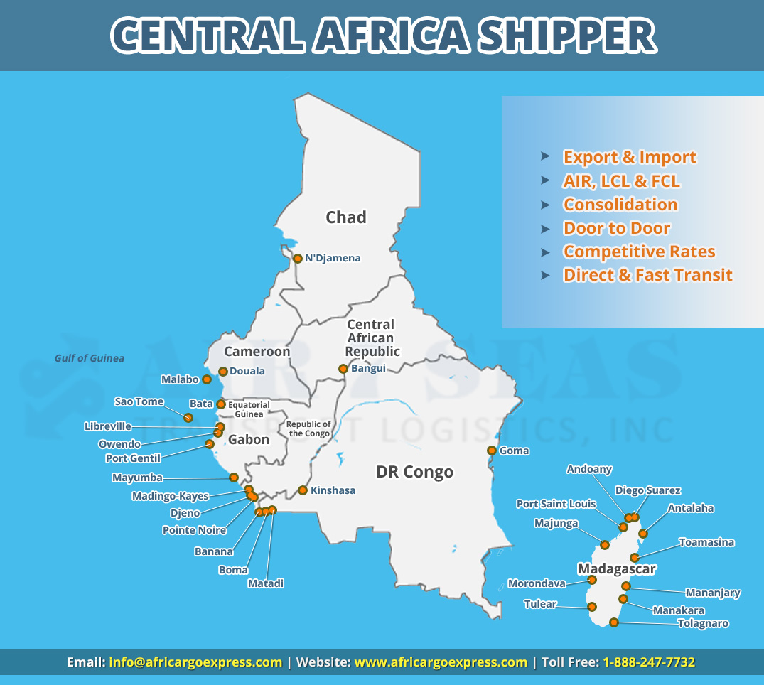 Shipping to Central Africa Service map
