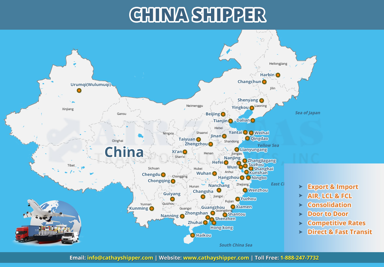 Shipping to China Service map