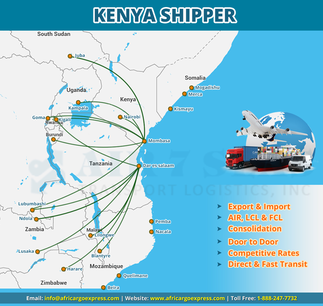 Shipping to Kenya Service map