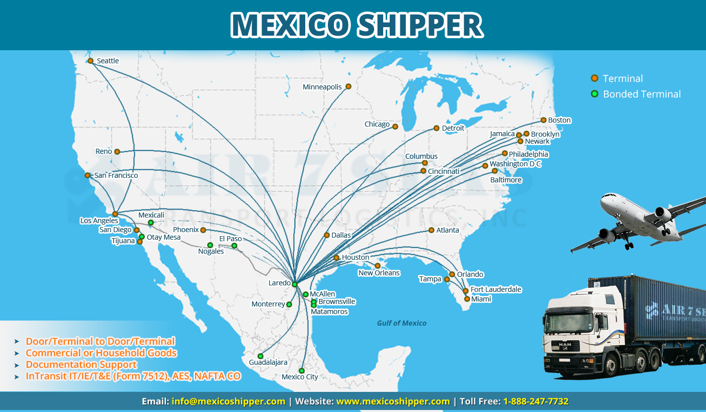 Shipping to Mexico Service map