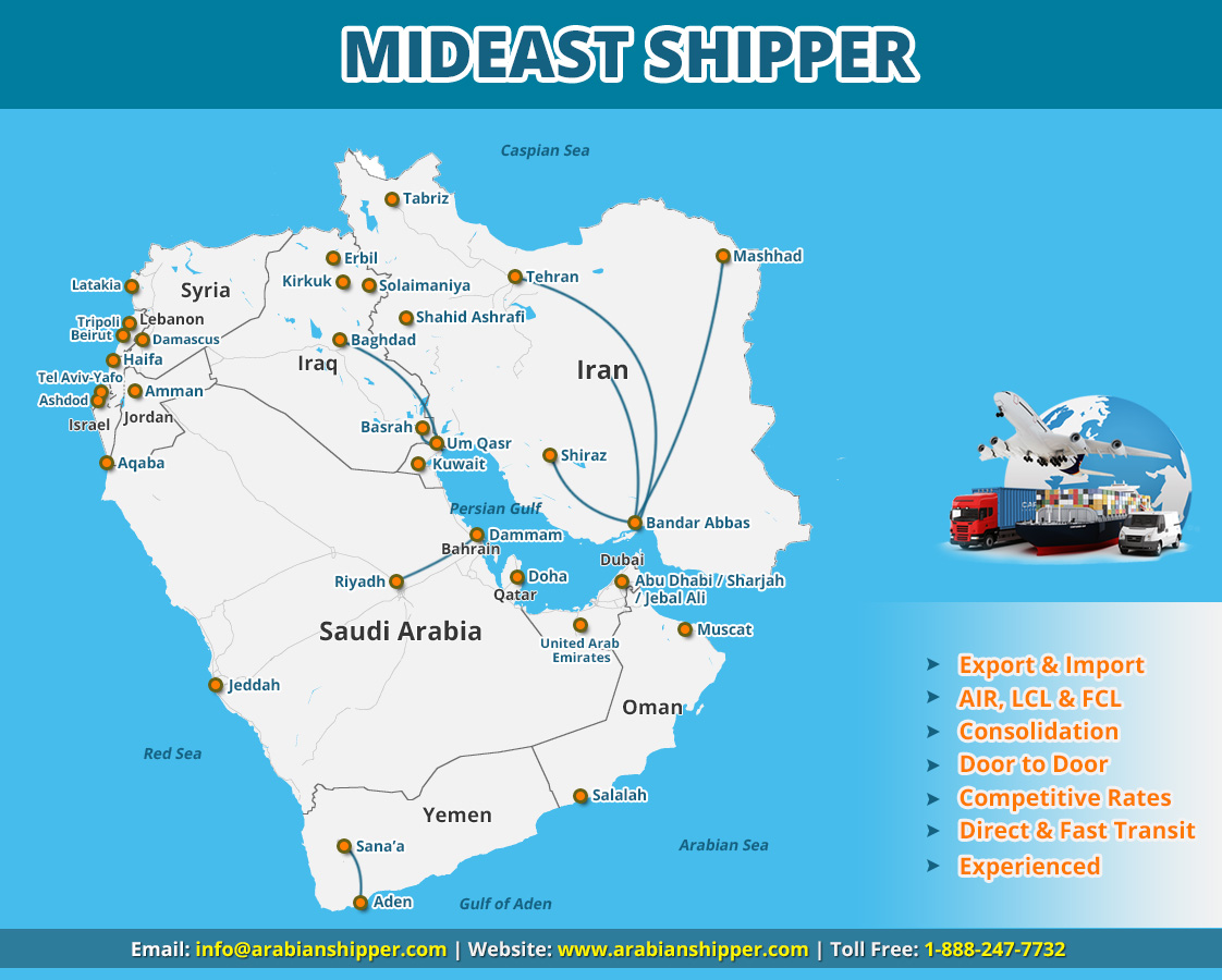 PShipping to Middle East Service map