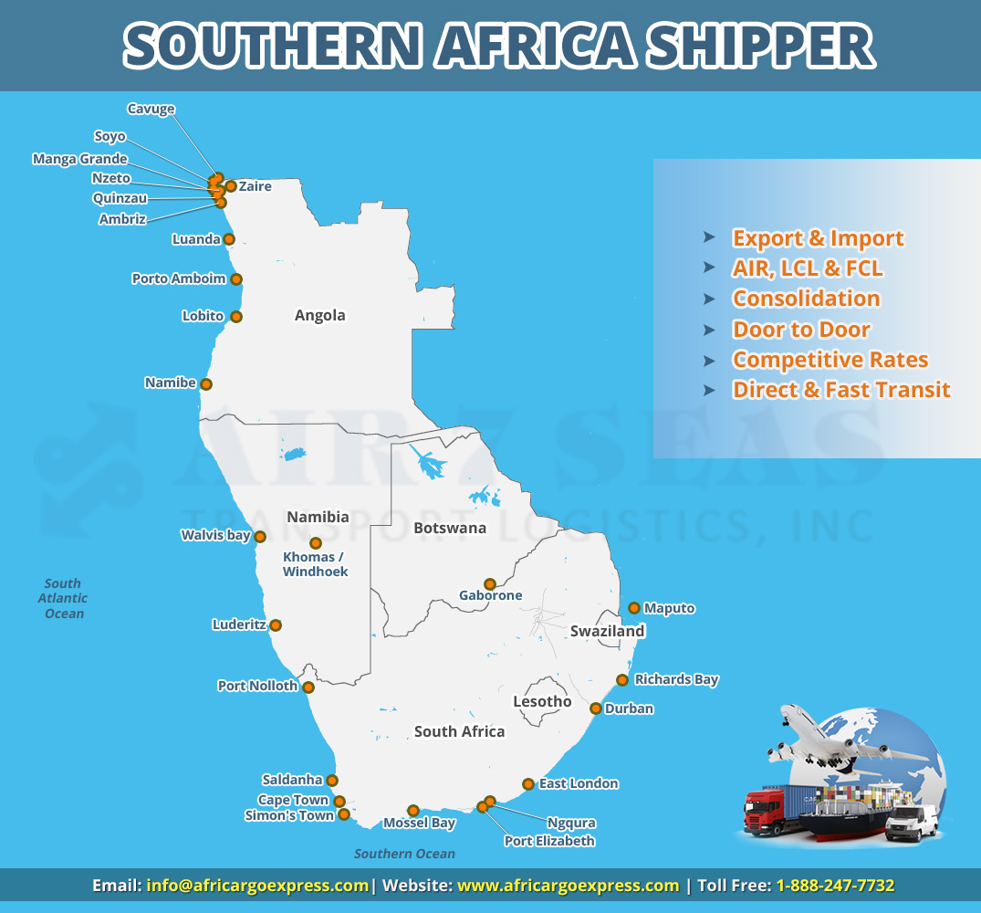 Shipping to Southern Africa Service map