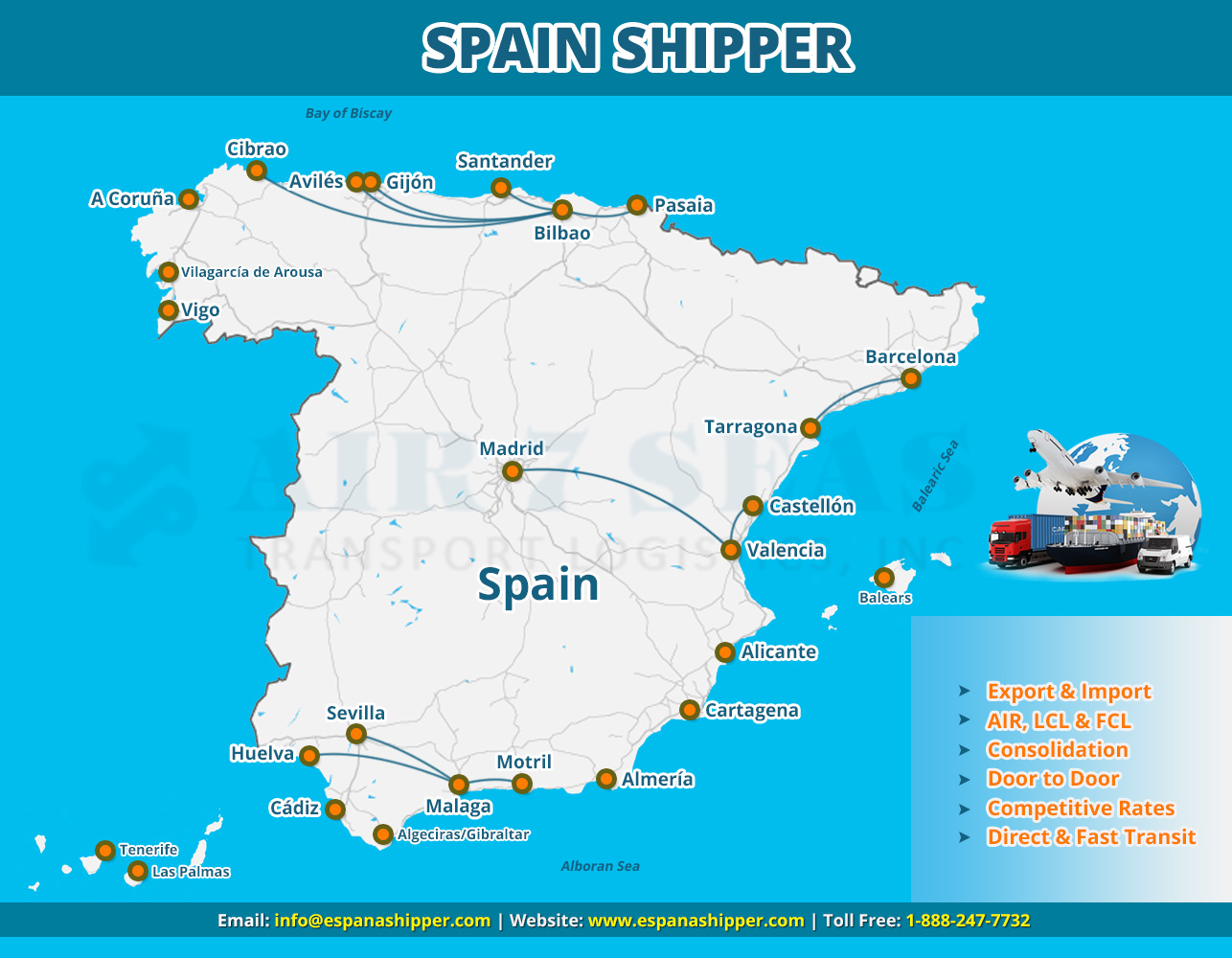 Shipping to Spain Service map
