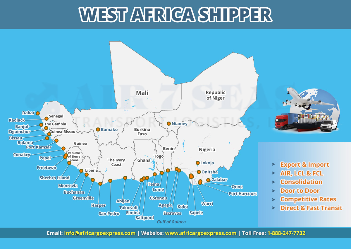 Shipping to West Africa Service map
